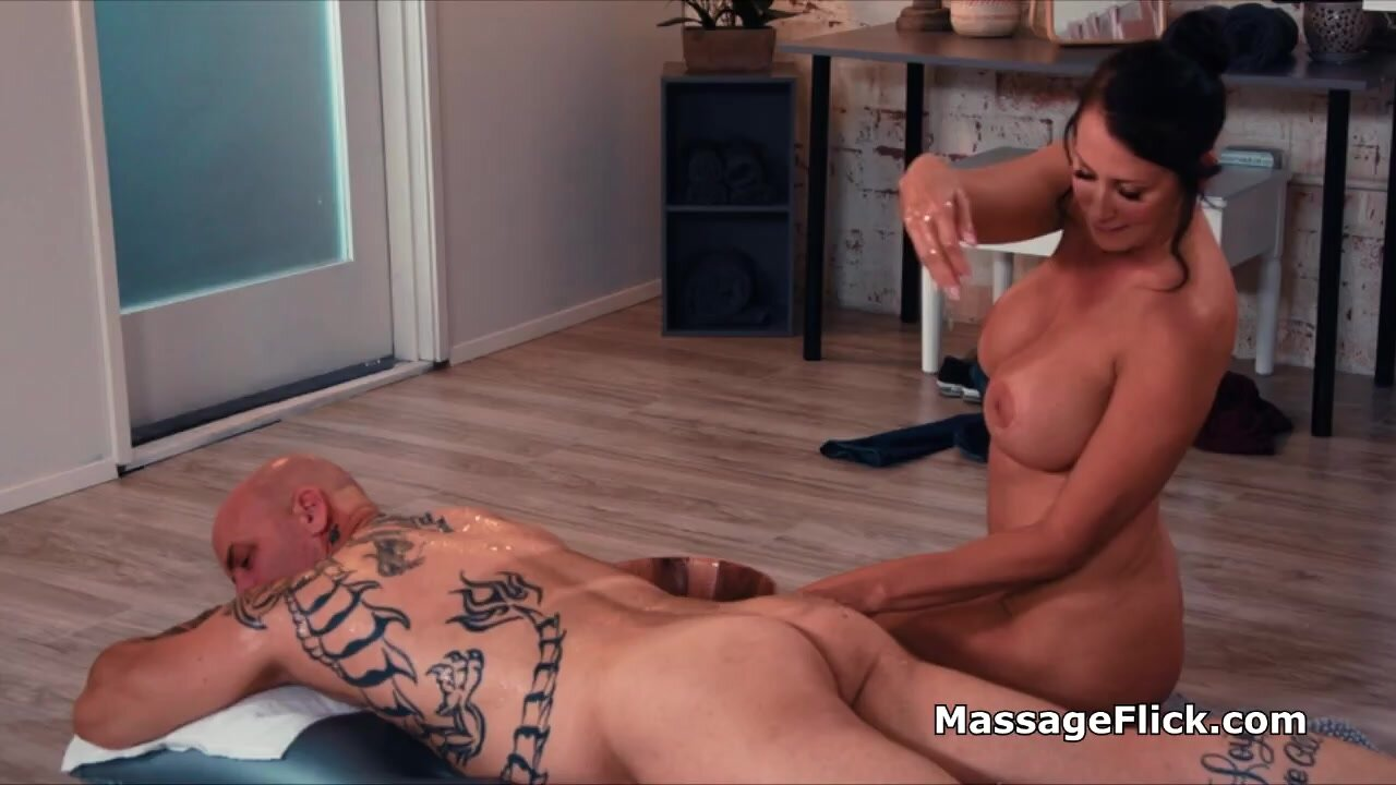 Banging oily busty MILF masseuse after she milks cock